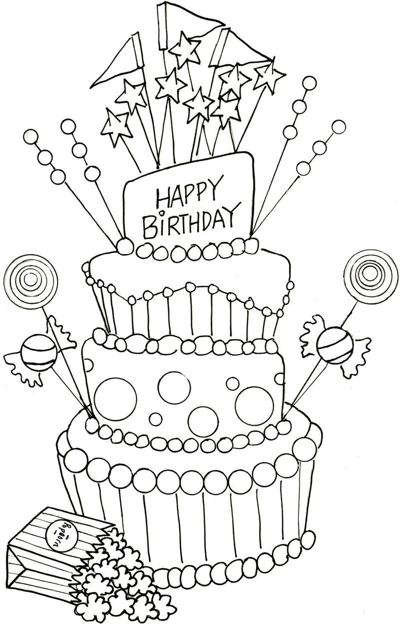Happy Birthday Party Cake Coloring Page