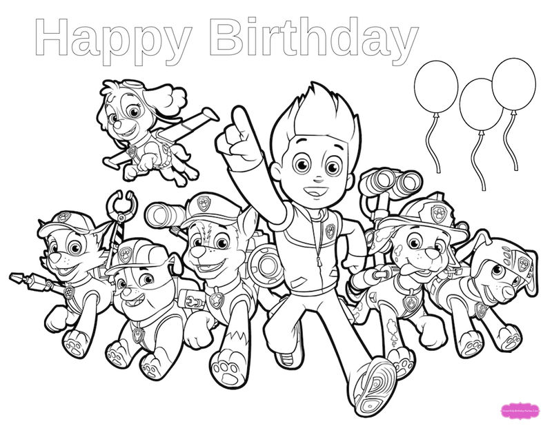 Happy Birthday Paw Patrol Coloring Page