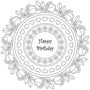 Happy birthday roses coloring page