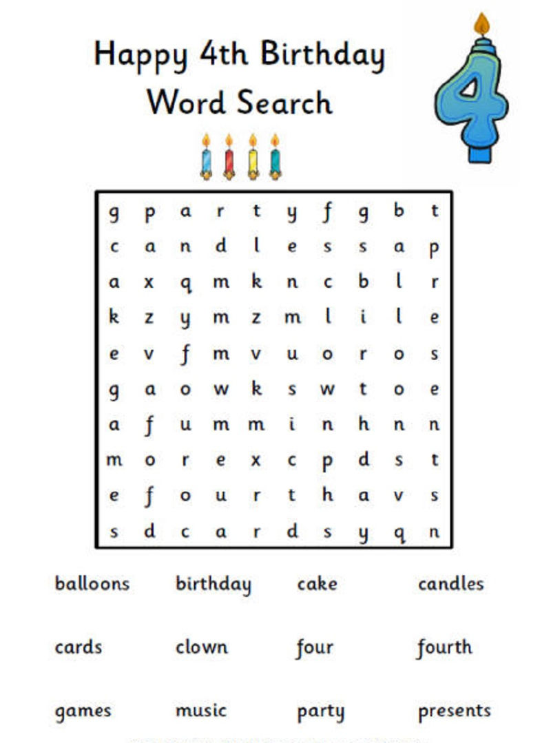 Happy Birthday Word Search 4