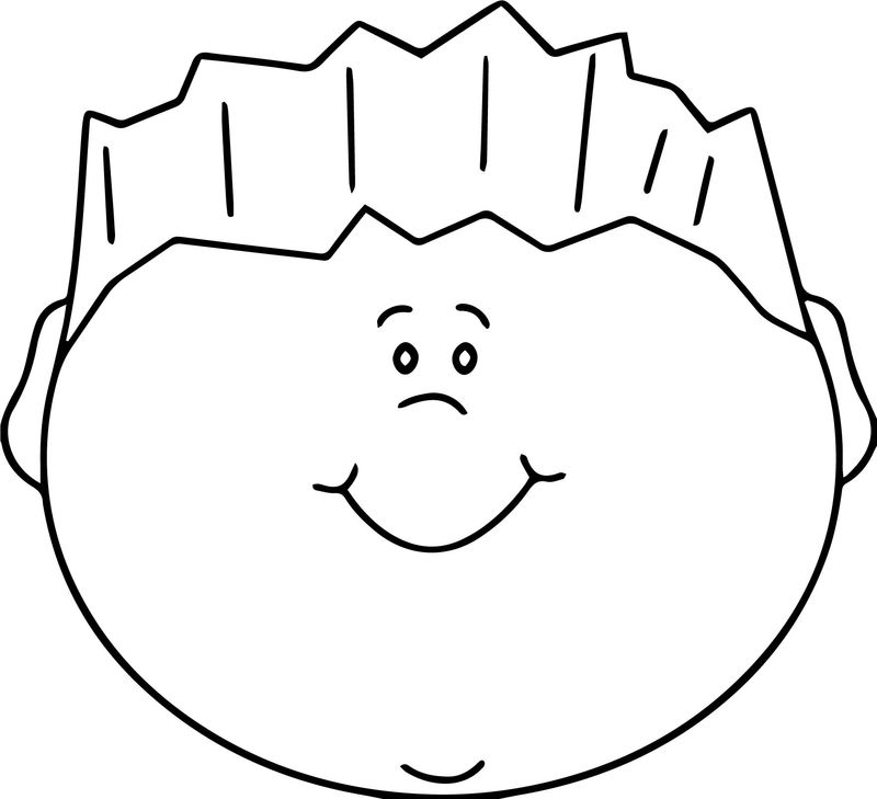 Happy Boy Face Coloring Page