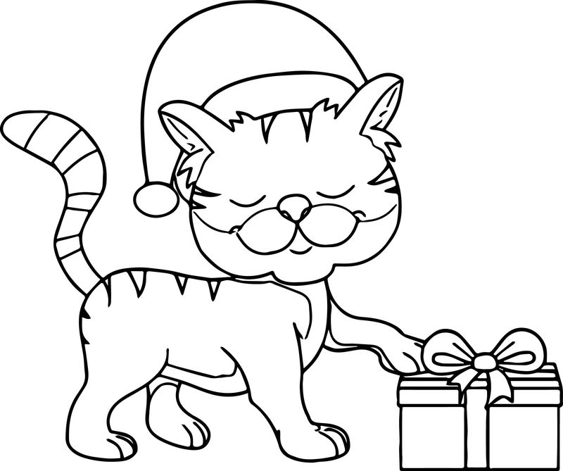 Happy Cat Wearing Christmas Hat Taking Gift Coloring Page
