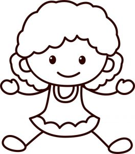 Happy children school small girl coloring page