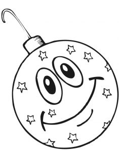 Happy christmas ornaments coloring page