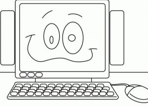 Happy computer coloring pages