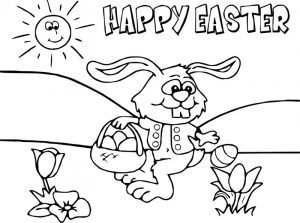Happy easter bunny cartoon funny coloring page