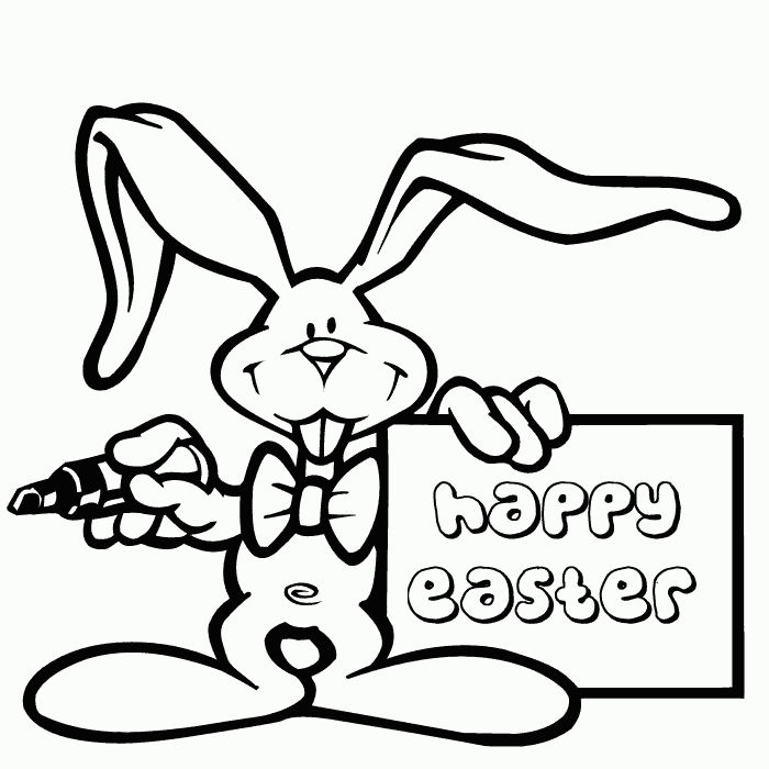 Happy Easter Coloring Page Bunny