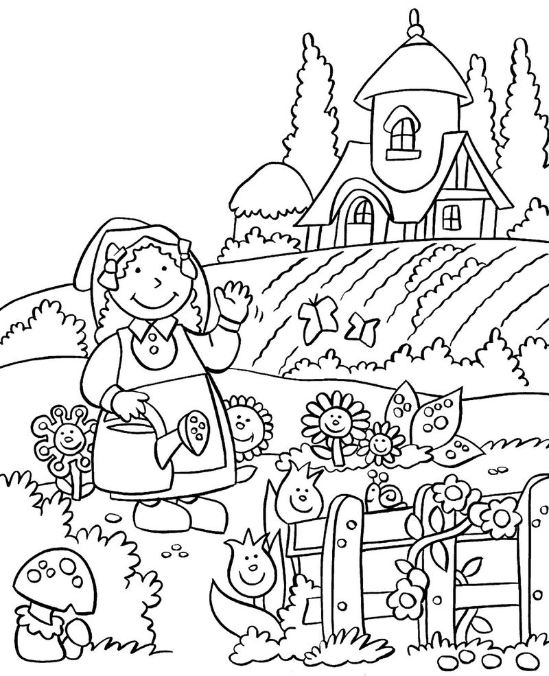 Happy Gardening Coloring Pages 001