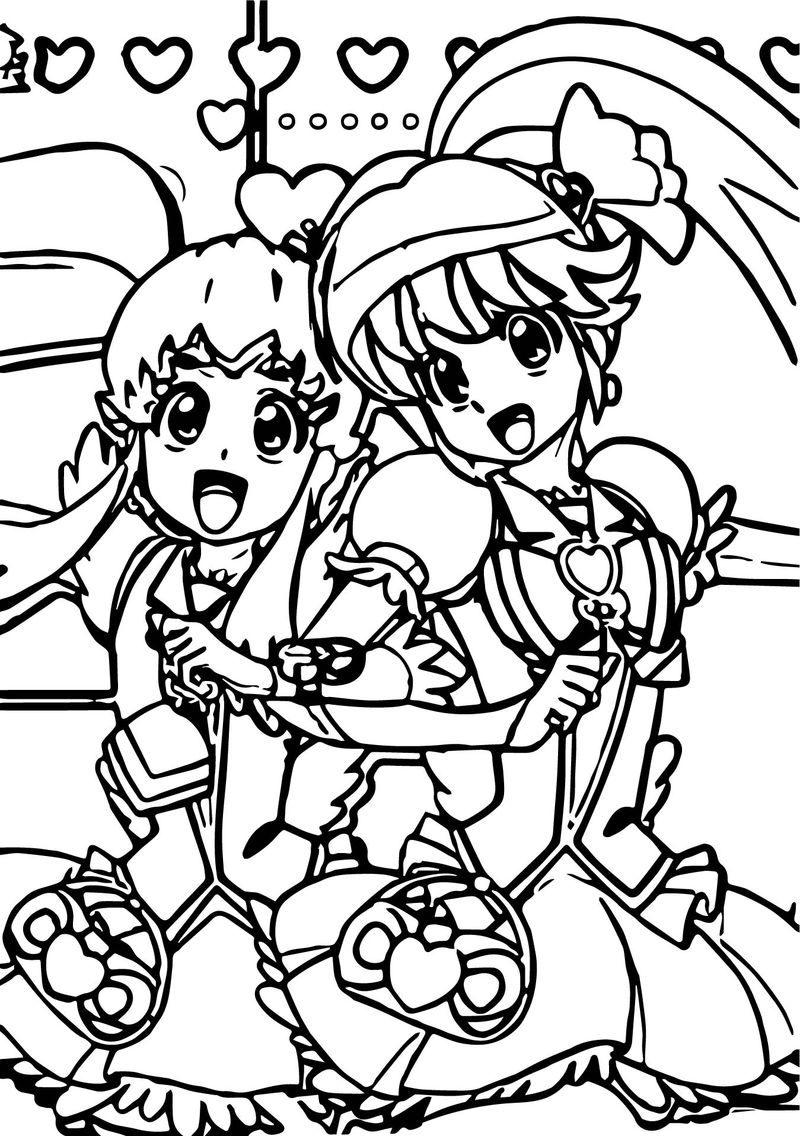 Happy Glitter Force Girls Coloring Page