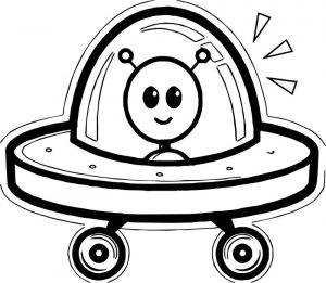 Happy kid alien drawing vehicle coloring page