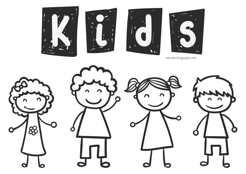 Happy Kids Coloring Page