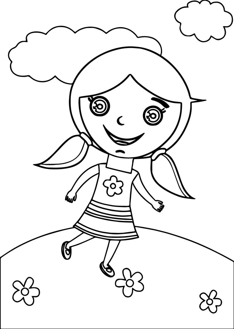 Happy Kids Girl Coloring Page