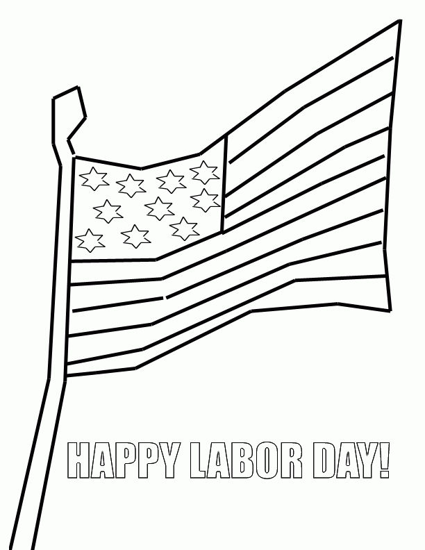 Happy Labor Day Coloring Page Flag