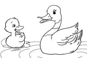Happy mother duck and duckling coloring page
