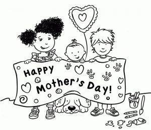 Happy mothers day banner coloring pages
