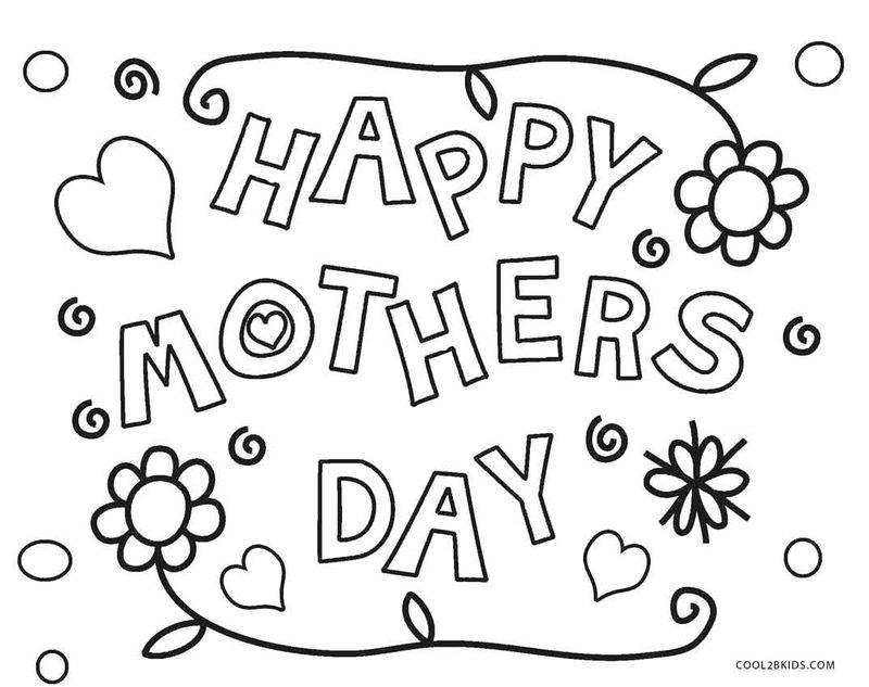 Happy Mothers Day Coloring Page Flowers