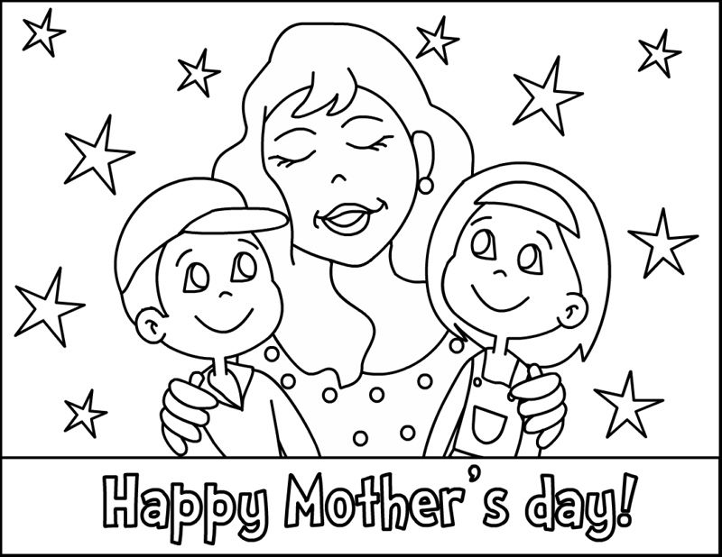 Happy Mothers Day Kids Coloring Page