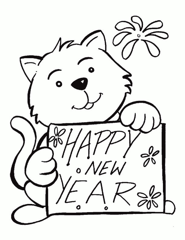 Happy New Year Cat Coloring Page