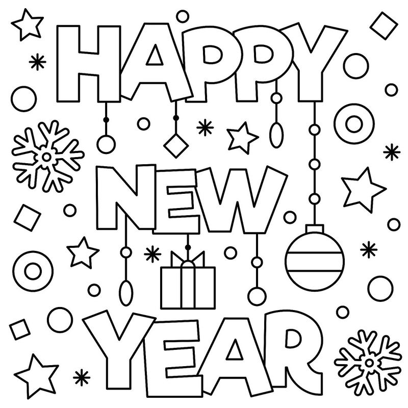 Happy New Year Coloring Page 001