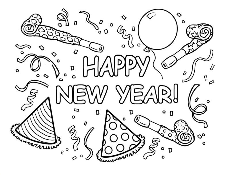 Happy new year coloring pages 001