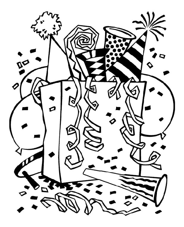 Happy New Year Coloring Pages Party Bag