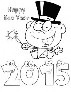 Happy new year coloring pages printable