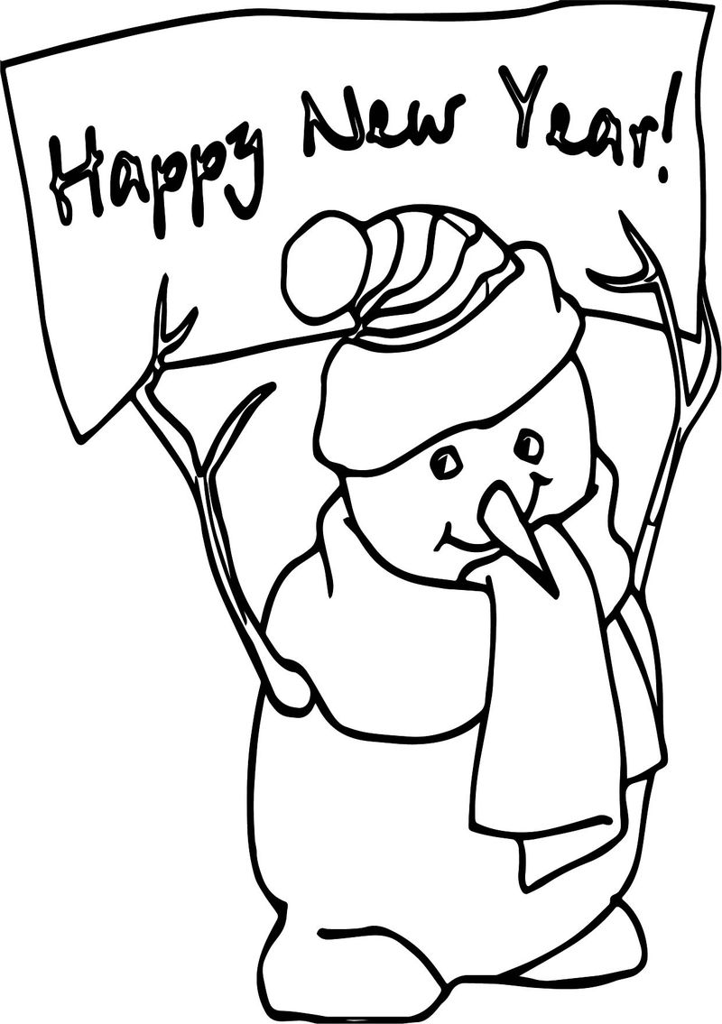 Happy New Year Winter Coloring Page