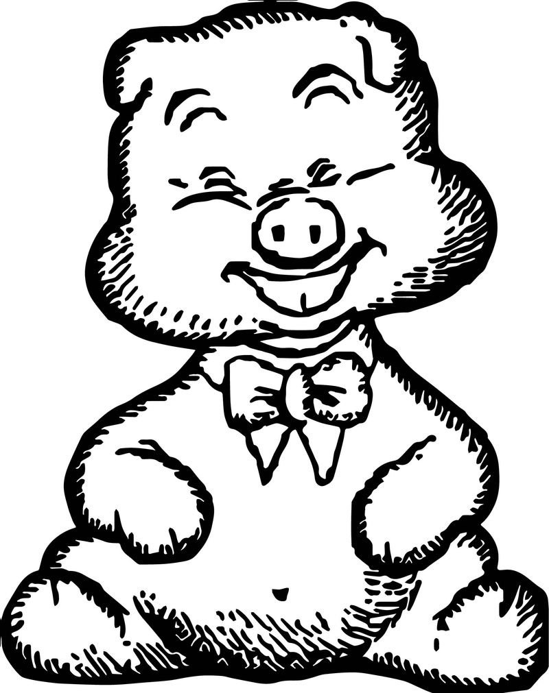 Happy Pig Baby Farm Animal Coloring Page