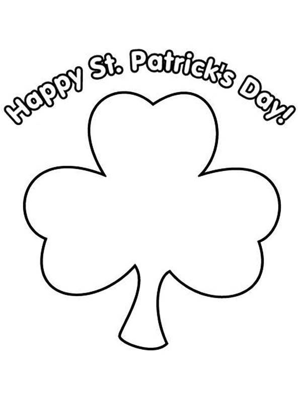 Happy Shamrock Coloring Page