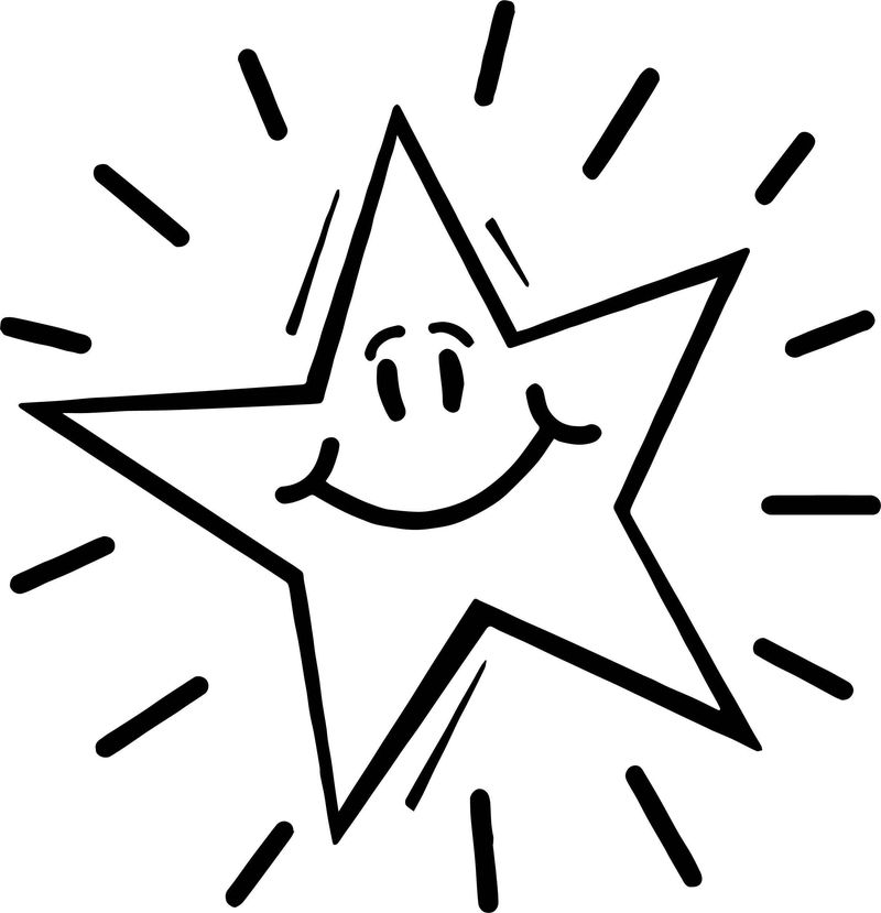Happy Star Shine Coloring Page