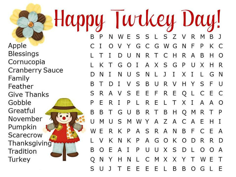 Happy Turkey Day Word Search