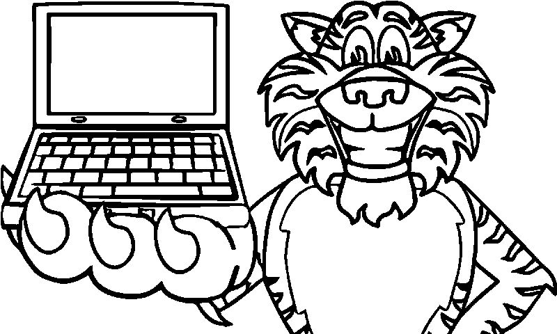 Happy Use Computer Tiger Coloring Page