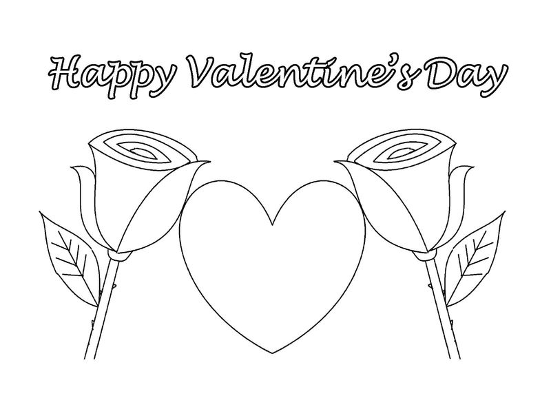 Happy Valentines Day Coloring Pages Two Roses