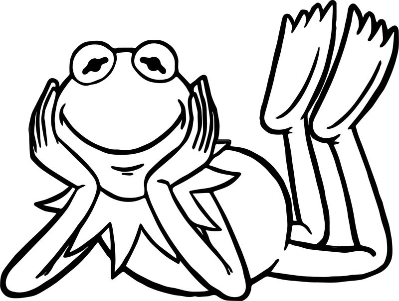 Happy Waiting Frog Coloring Page