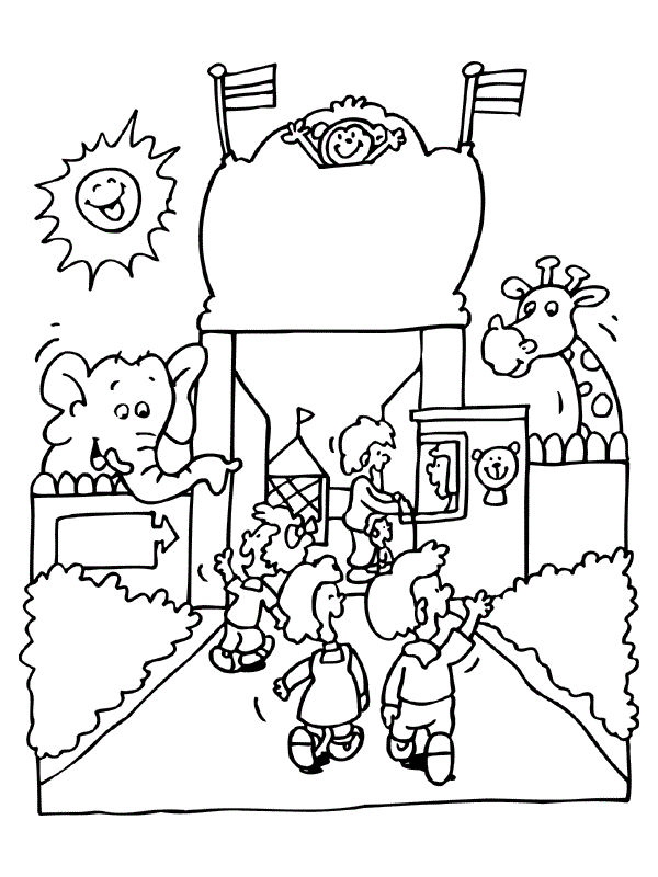 Happy Zoo Animals Coloring Page To Print
