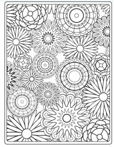 Hard flower coloring pages for adults