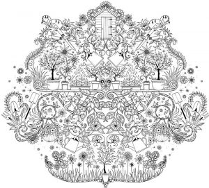 Hard garden coloring pages for adults