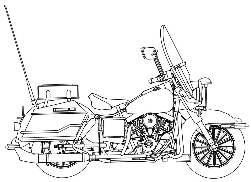 Harley Davidson Police Motorcycle Side Coloring Page