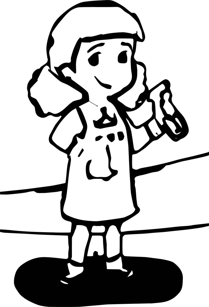 Healthy Cleaning Character Coloring Page