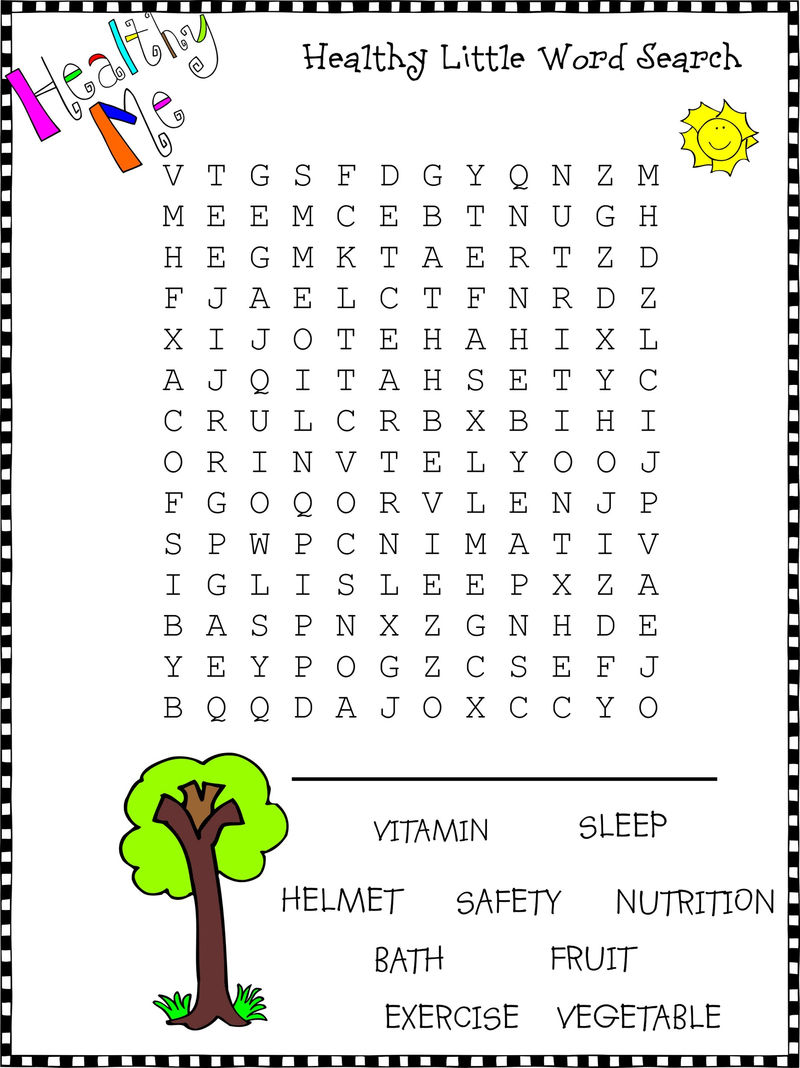 Healthy Word Search Puzzle