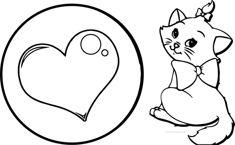 Heart And Disney Cat Coloring Page