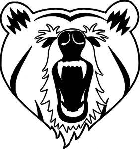 Heart bear face yell front view coloring page