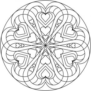 Heart circle valentines day coloring pages for adults