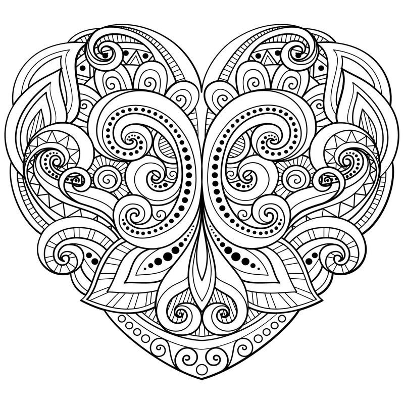 Heart Coloring Pages For Adults 1