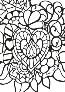Heart design coloring pages for adults