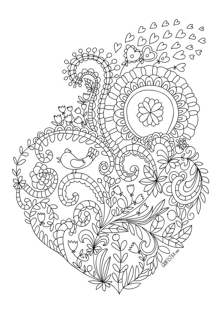 Heart Drawing For Adults To Color