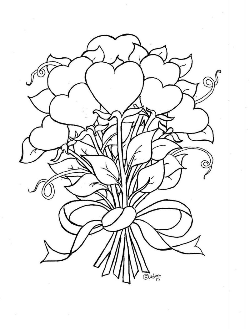 Heart Flowers Coloring Page