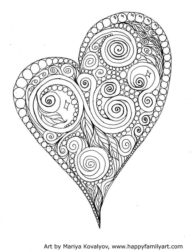 Heart Sketch Coloring Page For Adults
