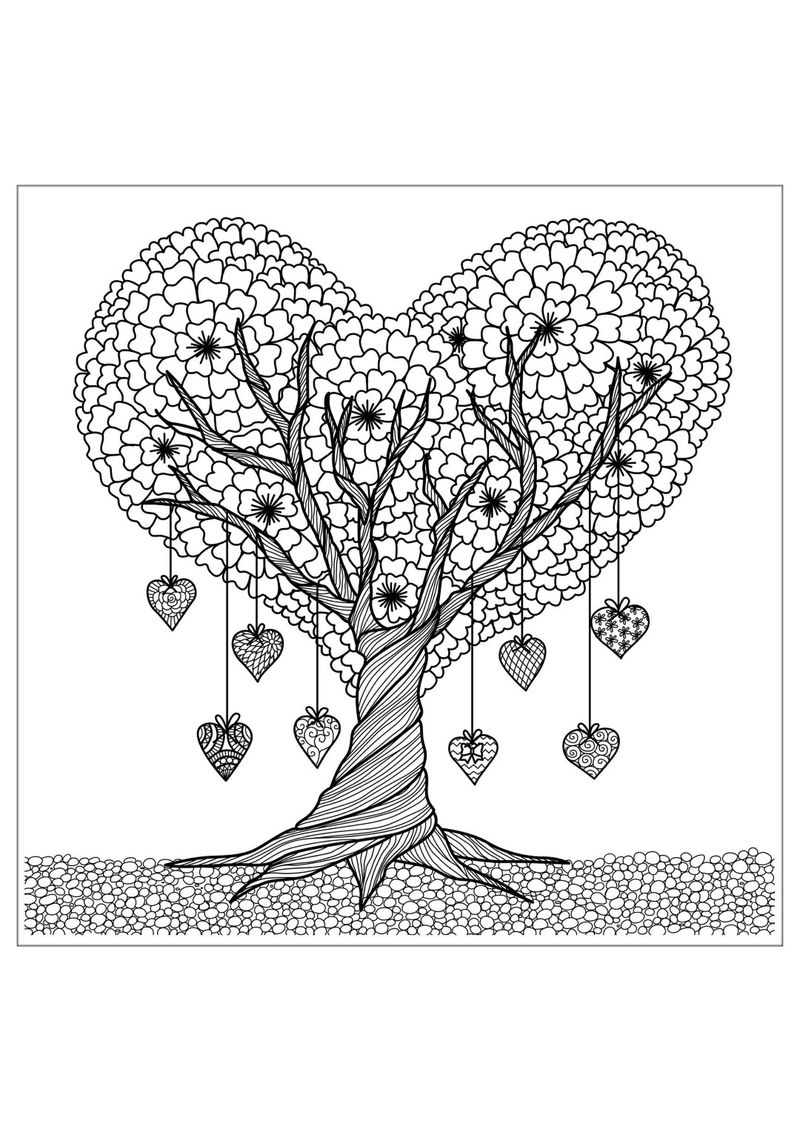 Heart Tree Coloring Pages