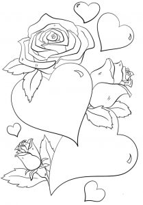 Hearts and flowers coloring pages
